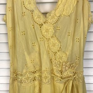 Free People Dress Lace Trim Embroidered Flowers